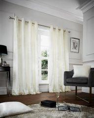 Crushed velvet cream eyelet curtains