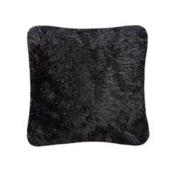 Fluffy fur black cushion cover