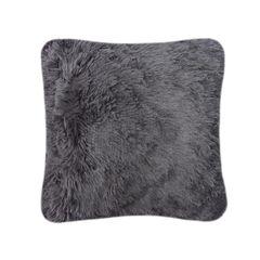 Fluffy fur charcoal cushion cover