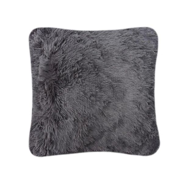 Fluffy fur charcoal cushion cover