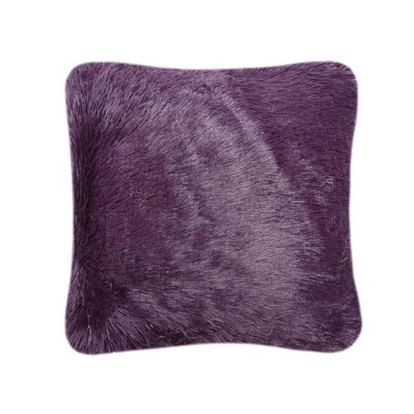 Fluffy fur purple cushion cover