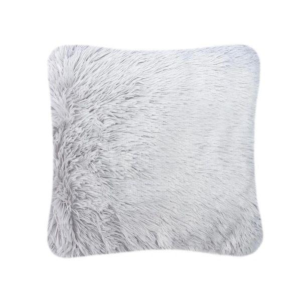 Fluffy fur silver cushion cover