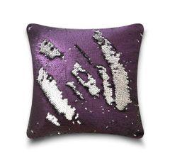 Shiny sequin aubergine/silver cushion cover