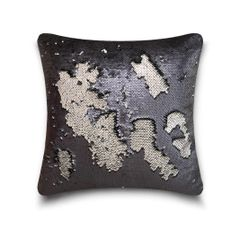 Shiny sequin black/silver cushion cover