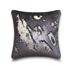 Shiny sequin grey/silver cushion cover
