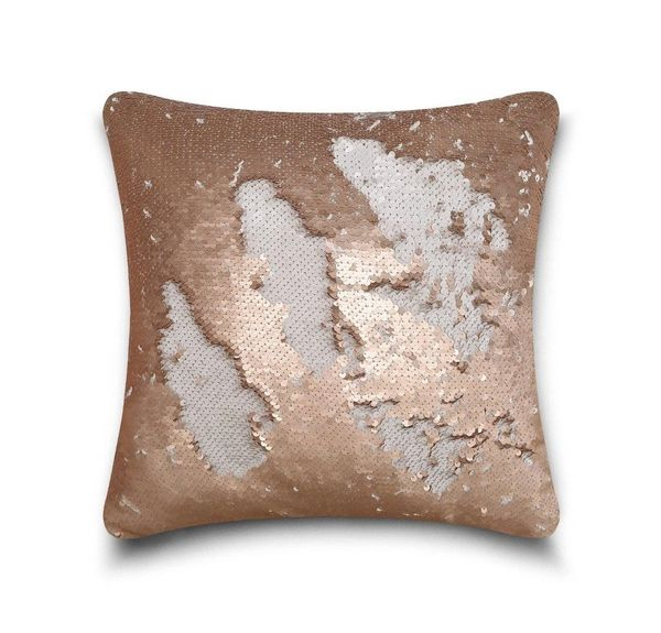 Shiny sequin mink/silver cushion cover