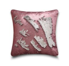 Shiny sequin pink/silver cushion cover