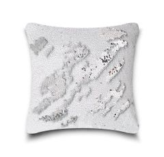 Shiny sequin white/silver cushion cover