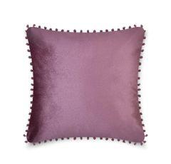 Pom pom mauve cushion cover