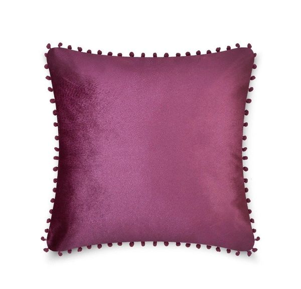 Pom pom plum cushion cover