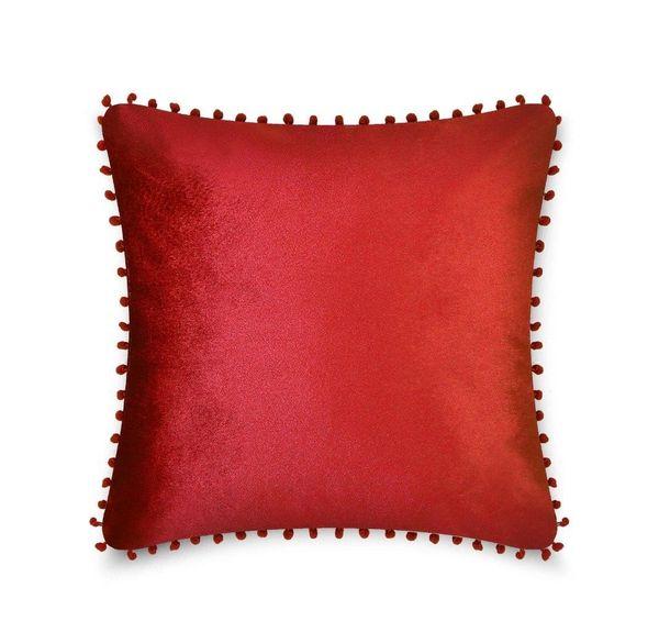 Pom pom red cushion cover
