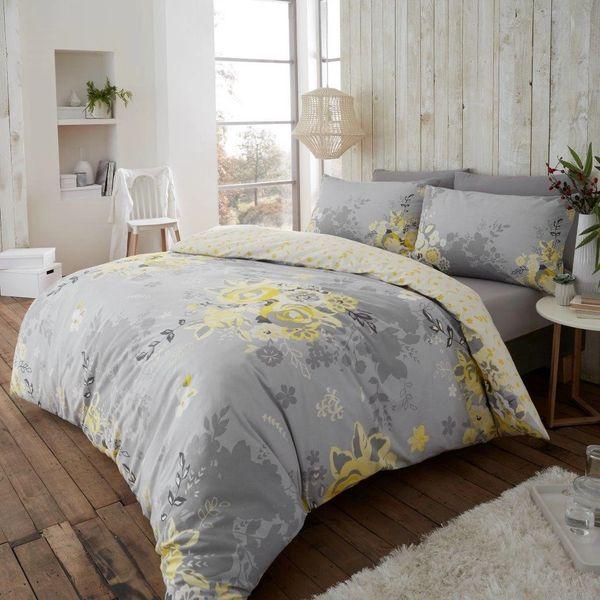 Eaton mustard flannelette duvet cover