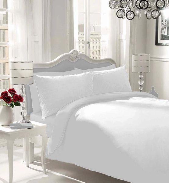 Plain white flannelette duvet cover