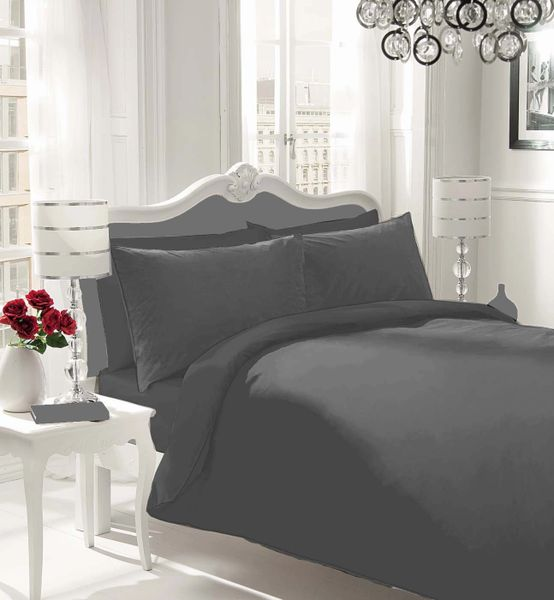 Plain black flannelette duvet cover