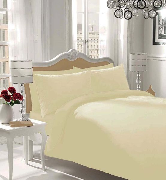 Plain cream flannelette duvet cover