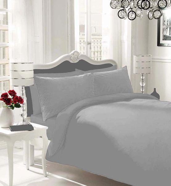 Plain Grey Flannelette Duvet Cover Discount Home Textiles