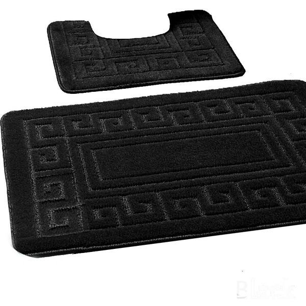Black Greek style 2 piece bath mat set