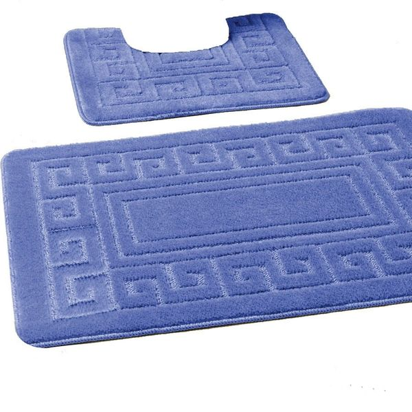 Blue Greek style 2 piece bath mat set