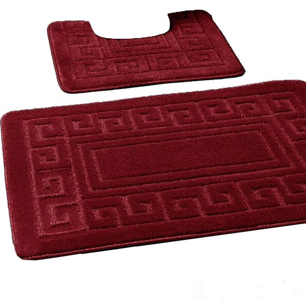 Burgundy Greek style 2 piece bath mat set