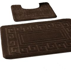 Chocolate Greek style 2 piece bath mat set
