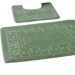 Green Greek style 2 piece bath mat set