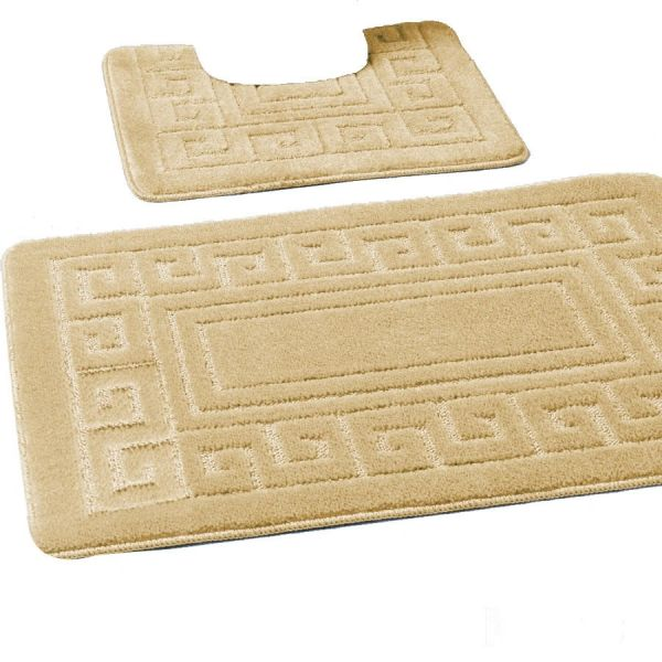 Mocha Greek style 2 piece bath mat set