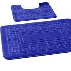 Royal Blue Greek style 2 piece bath mat set