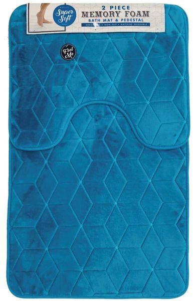 Aqua cube memory foam 2 piece bath mat set