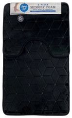 Black cube memory foam 2 piece bath mat set