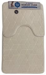 Cream cube memory foam 2 piece bath mat set
