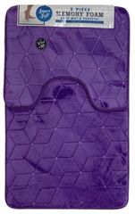 Purple cube memory foam 2 piece bath mat set