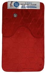Red cube memory foam 2 piece bath mat set