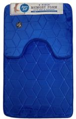 Royal Blue cube memory foam 2 piece bath mat set