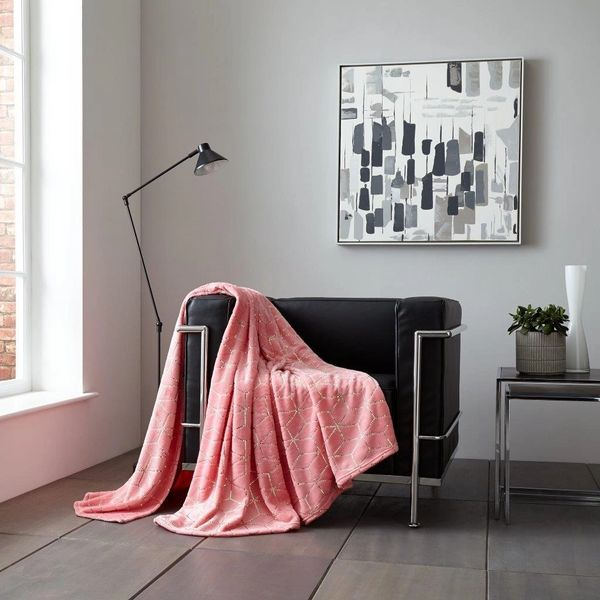 Metallic Cube pink/gold throw