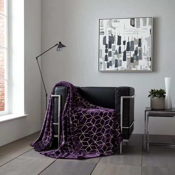 Metallic Cube purple/gold throw