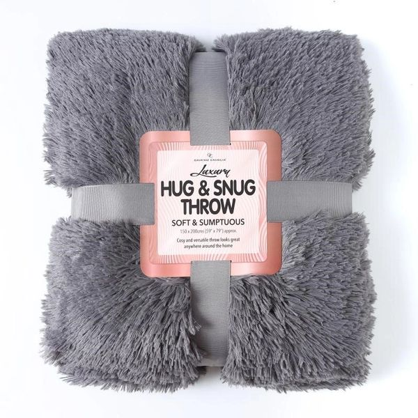 Fluffy Fur charcoal throw