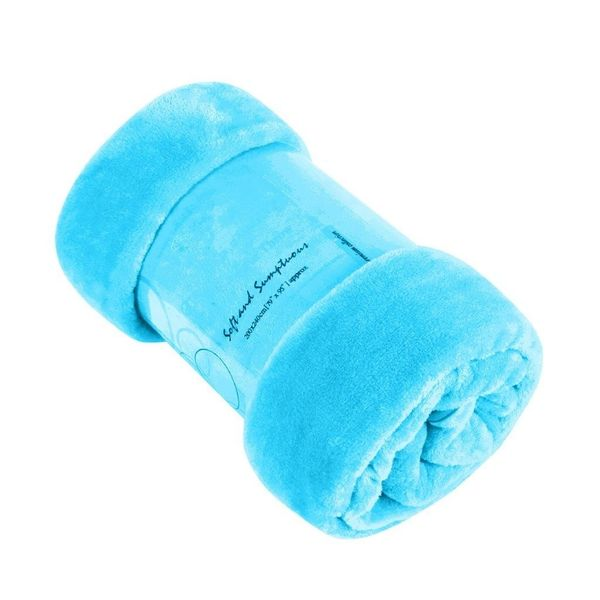 Plain aqua mink faux fur throw / blanket