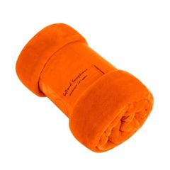 Plain orange mink faux fur throw / blanket