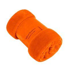 Plain orange mink faux fur throw / blanket