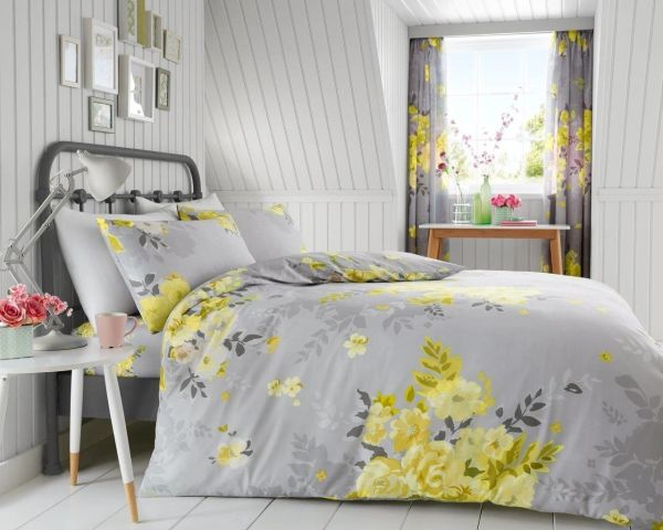 Alice yellow cotton blend duvet cover