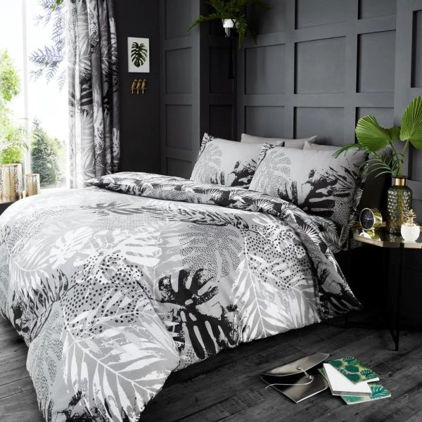Tropical grey duvet cover