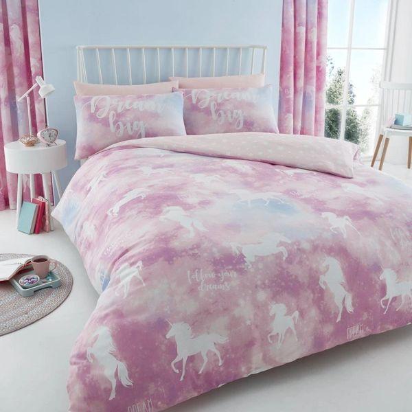 Unicorn Dreams pink duvet cover