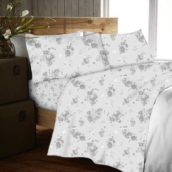 Ditsy grey flannelette sheet set