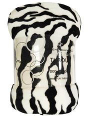 Animal Skin zebra mink faux fur throw / blanket
