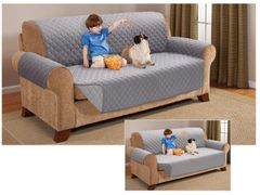 Quilted grey/silver sofa protector