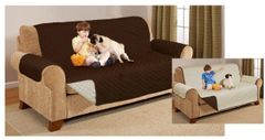 Quilted chocolate/cream sofa protector