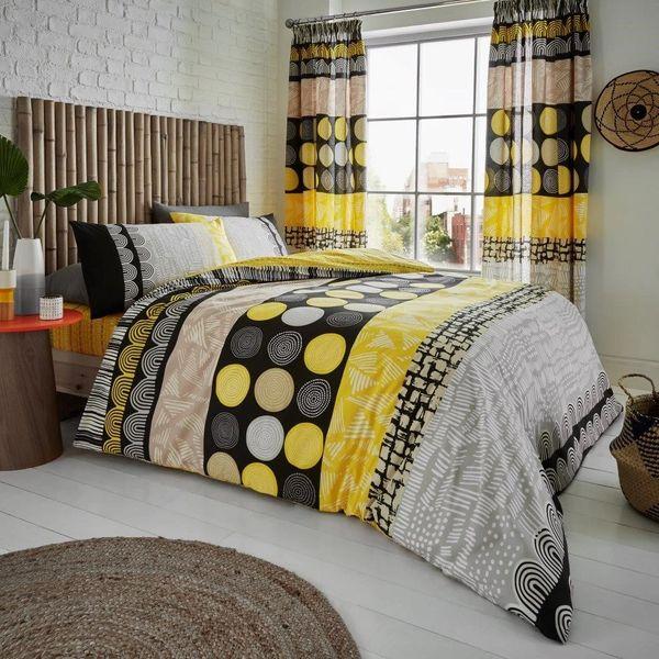 Anouk mustard cotton blend duvet cover