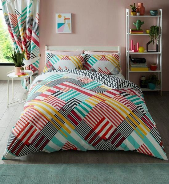 Geo Stripe bright duvet cover