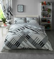 Geo Stripe grey cotton blend duvet cover