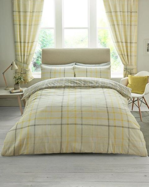 Hartley Check mustard duvet cover